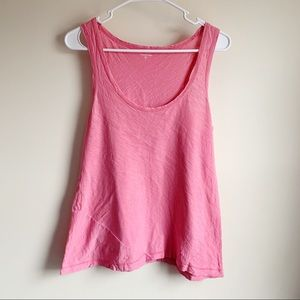 Garnet Hill Pink Asymmetric Hem Cotton Tank Top